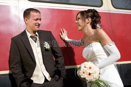 newlyweds on a wagon