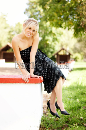 woman in dotted dress
