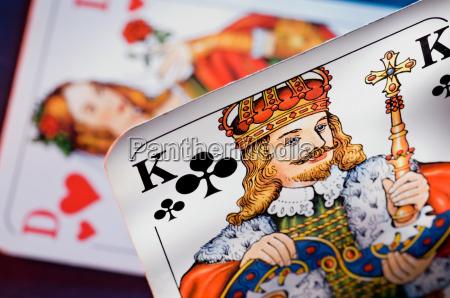 spielkarten kreuzkoenig und herzdame