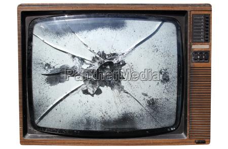 ein alter papierkorb tv mit einem