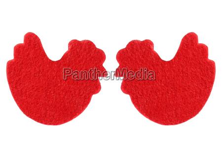 zwei rote huehner