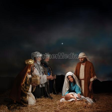 weihnachten krippe mit drei weisen