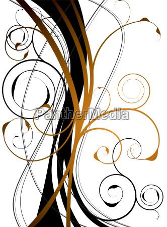 orange floral swirl