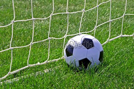 soccer ball against the goal net