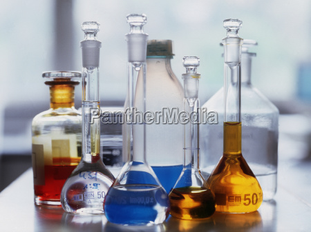 chemicals in laboratory glass