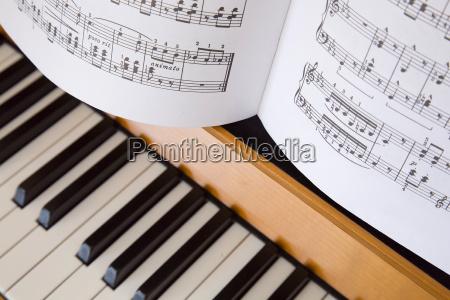 klaviernoten auf dem klavier