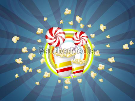 suessigkeiten und popcorn