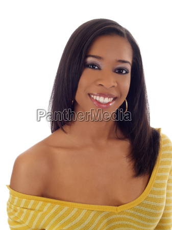 young black woman with yellow top