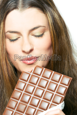 enjoying the chocolate