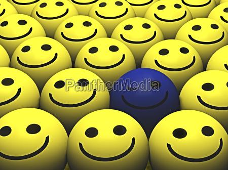 ein blinzeln des blauen smiley hebt
