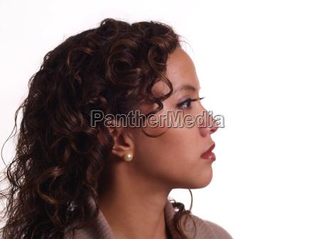 profile portrait young hispanic woman