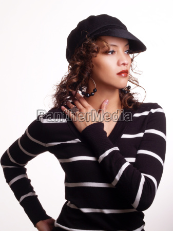 pretty young hispanic woman in black