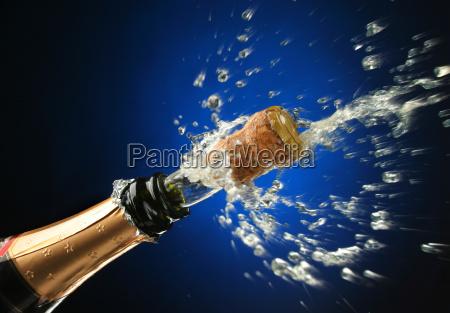 champagne flasche betriebsbereit zur feier