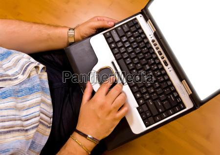 man work with his laptop