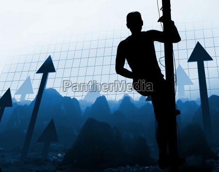 man climb the way of success