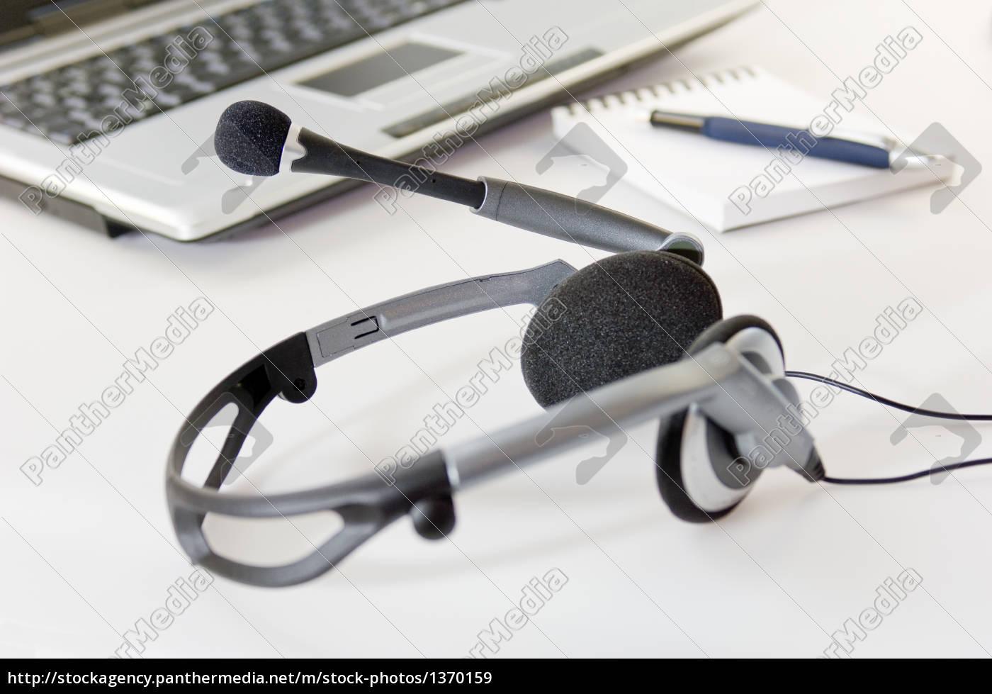 headset, mit, laptop - 1370159