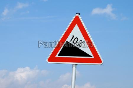 caution 10 percent gradient