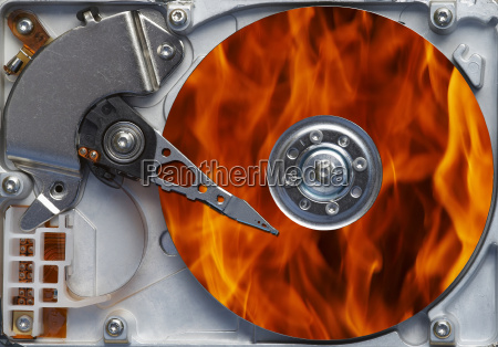 burning fiery hard disc