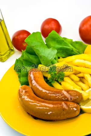 deutsche bratwurst pommes frites salat