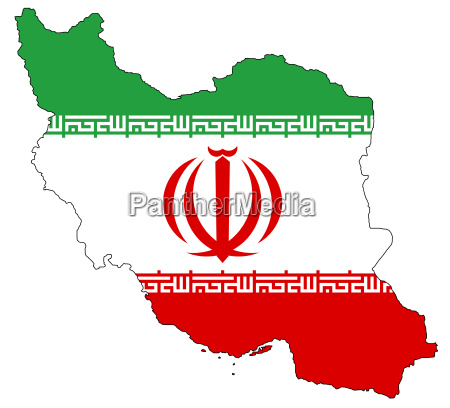 karte und flagge von iran