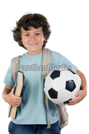 student boy blond with a soccer