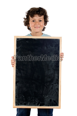 child with empty slate to put