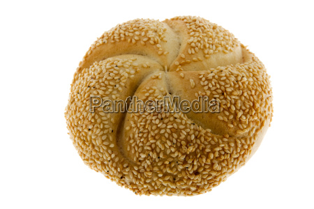 bread with sesame against white background