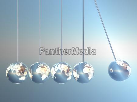 newton wiege pendel in earth look