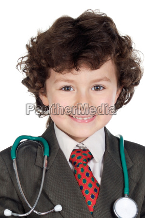 beautiful boy playing to be doctor