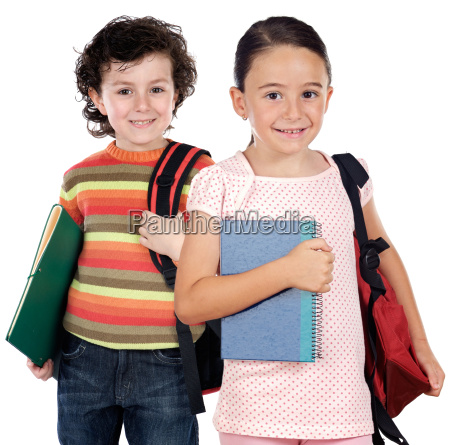 two children students returning to schoo