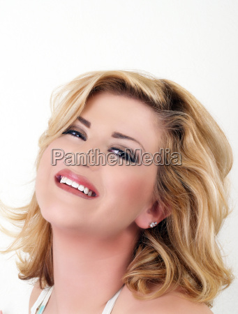 large young blond woman with smile