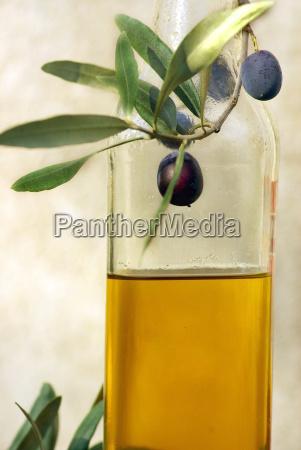 bottle of oliveoil and olives