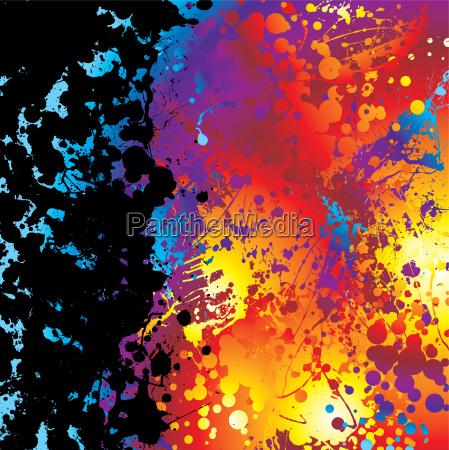 black ink splat border rainbow