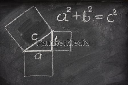 satz des pythagoras auf tafel lizenzfreies bild 1734001 bildagentur panthermedia. Black Bedroom Furniture Sets. Home Design Ideas