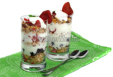 fruit muesli in glass