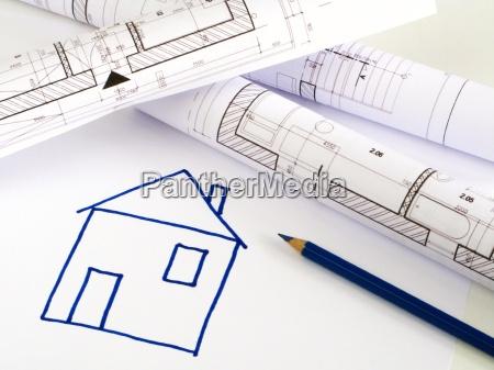 architektonische skizze haus plan