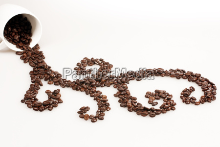 ornament of coffee beans on white