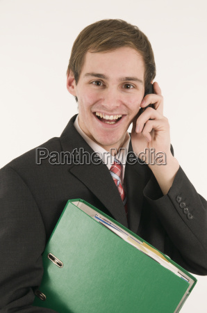 manager happy on phone
