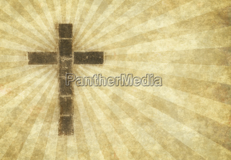 christian cross on parchment