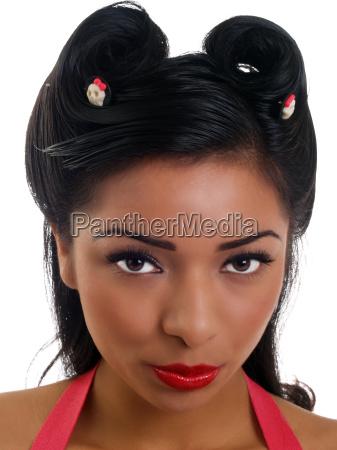 young hispanic woman closeup portrait