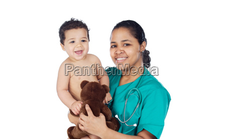 adorable doctor with a baby in