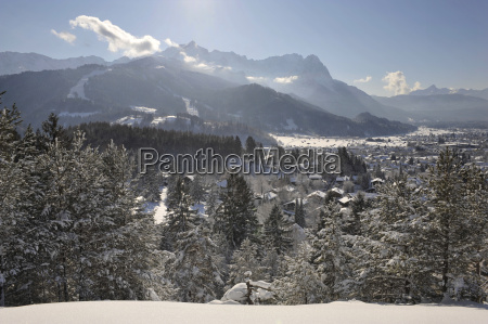 town of garmisch partenkirchen in winter