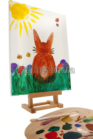easter painted easter bunny on canvas