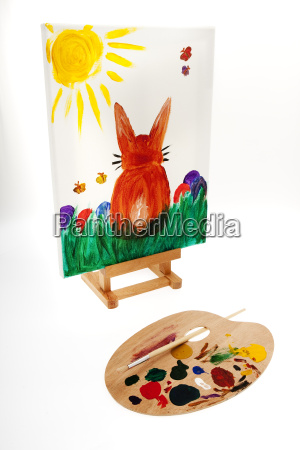 easter bunny painted on canvas
