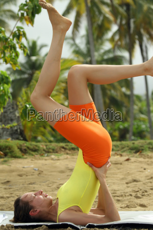fitness exercise on the beach