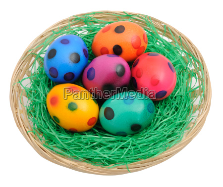 colorful easter eggs in the nest
