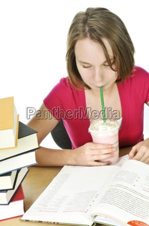 teenage girl with milkshake