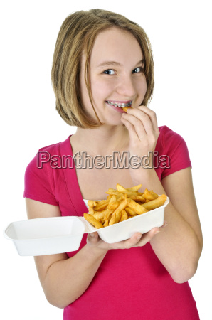 teenage girl with french fries