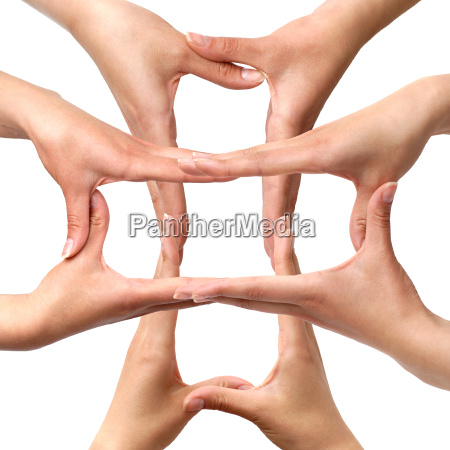 symbol medical cross from hands isolated