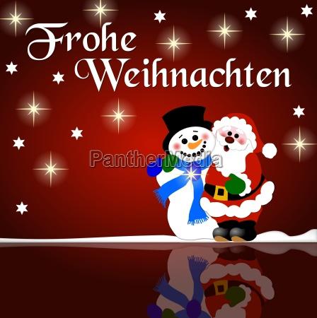 weihnachtsgruss schneemann und nikolaus
